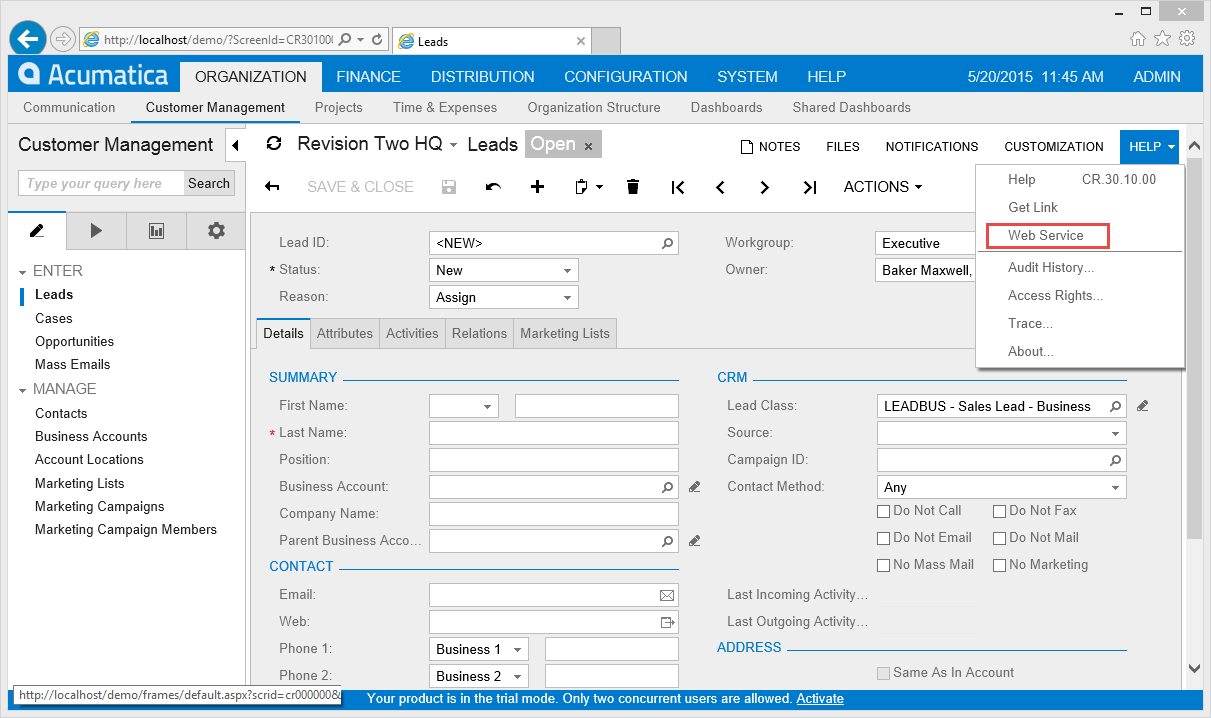 Connecting A Website To Acumatica Cloud Accounting