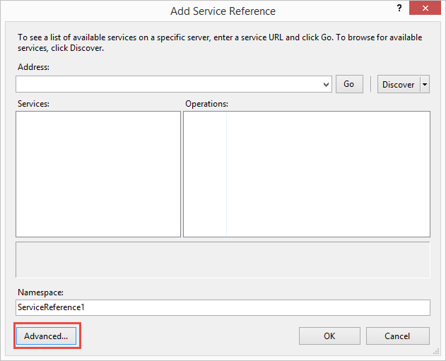 Add a service reference by selecting from the top menu Website -> Add Service Reference. This opens a dialog box.