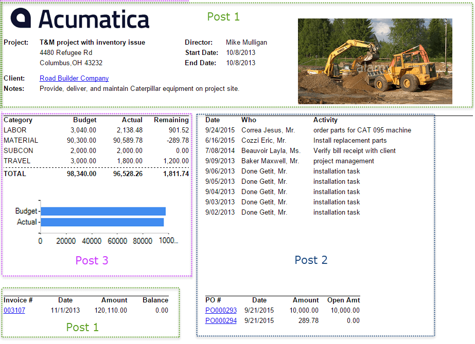 Building a Project Overview Report in Acumatica Cloud ERP Software