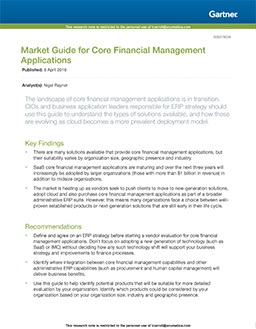 Gartner 2016 Market Guide for Core Financial Management Applications