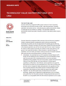 Technology Value Matrix CRM 1H 2015 - CRM