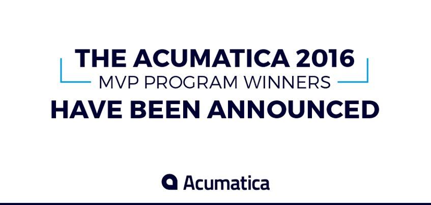 Acumatica 2016 MVP Program Winners Announced