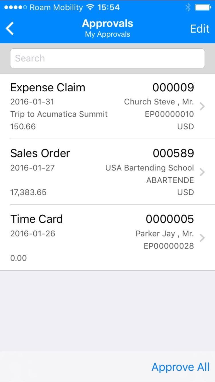 Acumatica 5.3 enhanced mobile app features