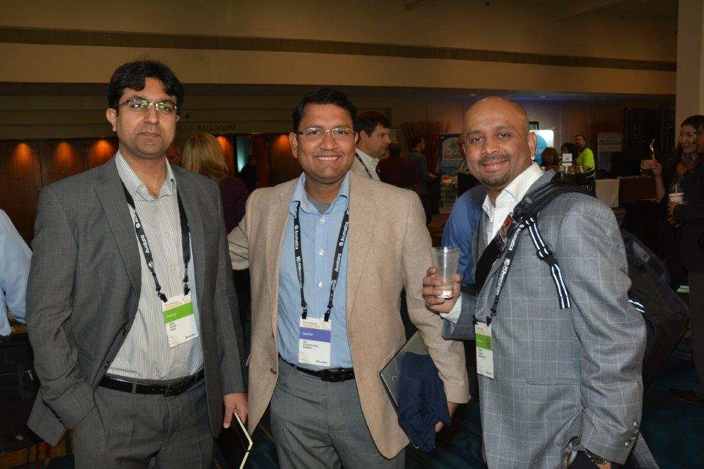 Ajoy Krishnamoorthy (center), Acumatica's General Manager and Head of the Cloud Platform Division, at Acumatica Summit 2016