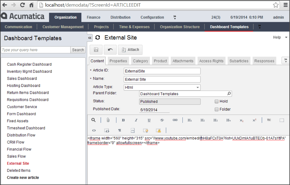 Paste the code into your Acumatica wiki page