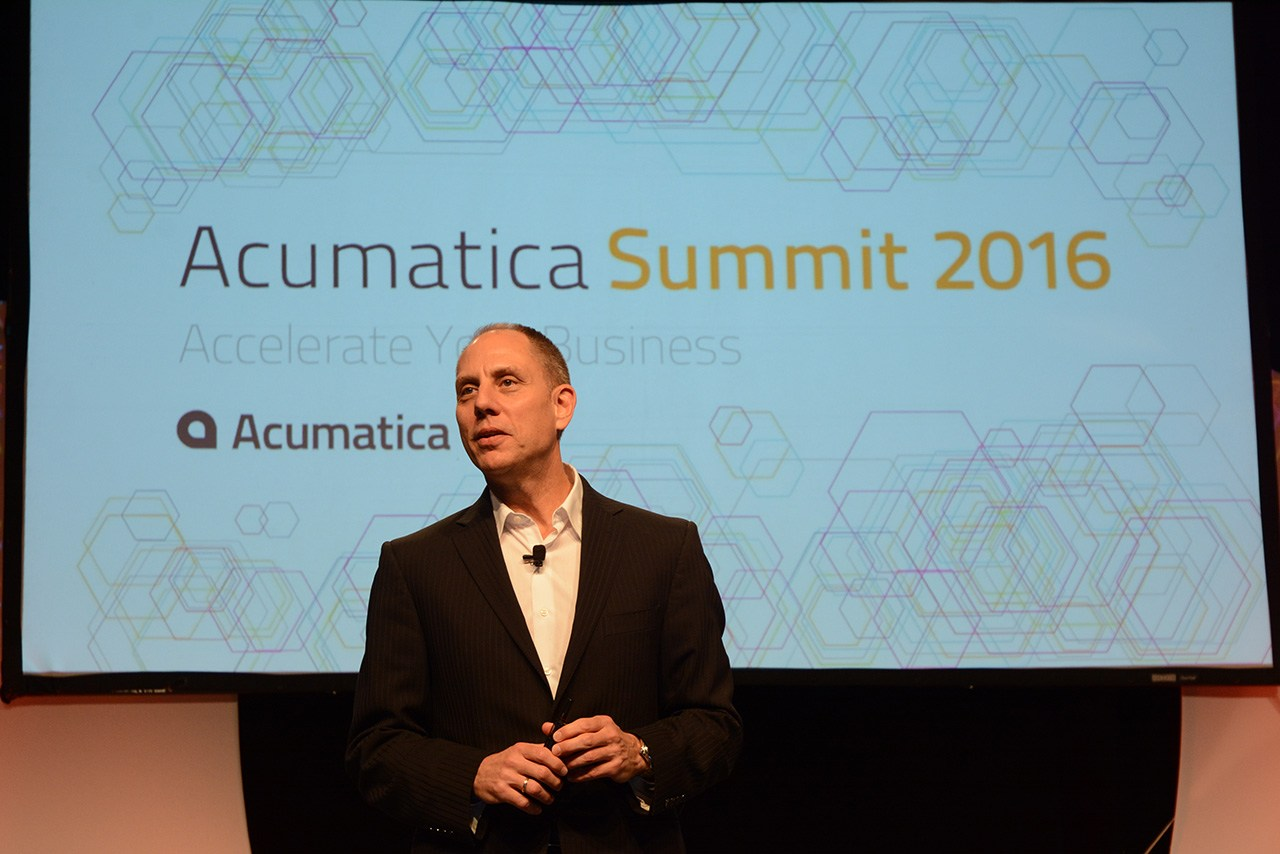 Acumatica CEO Jon Roskill announcing Acumatic 5.3 at Acumatica Summit 2016