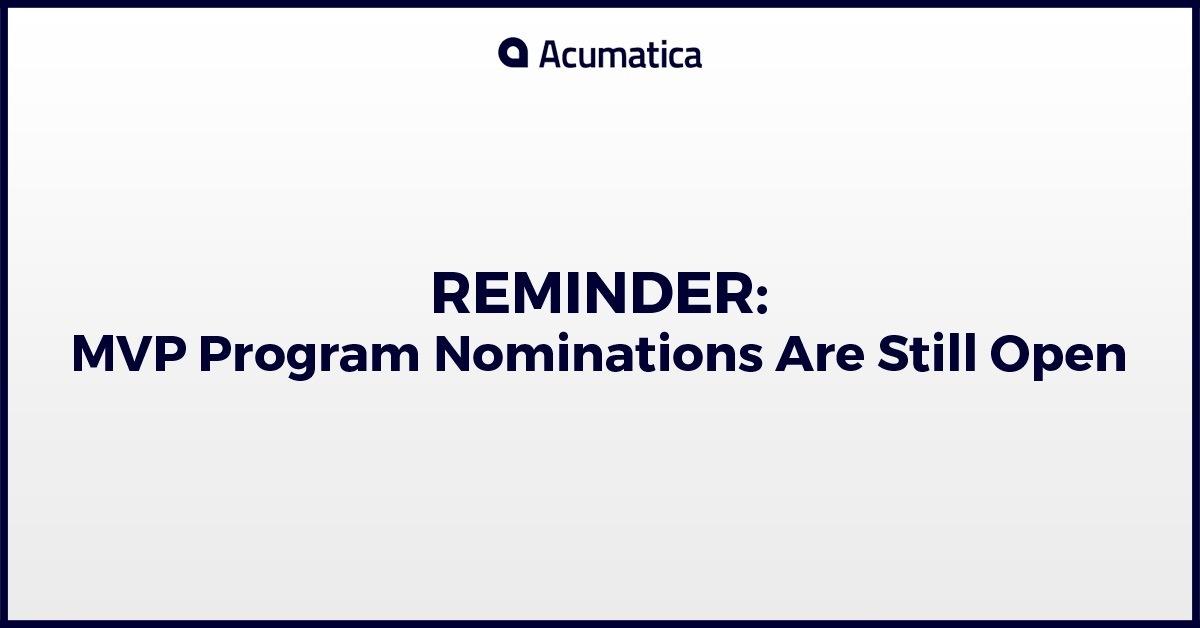 Reminder: MVP Program Nominations Are Still Open