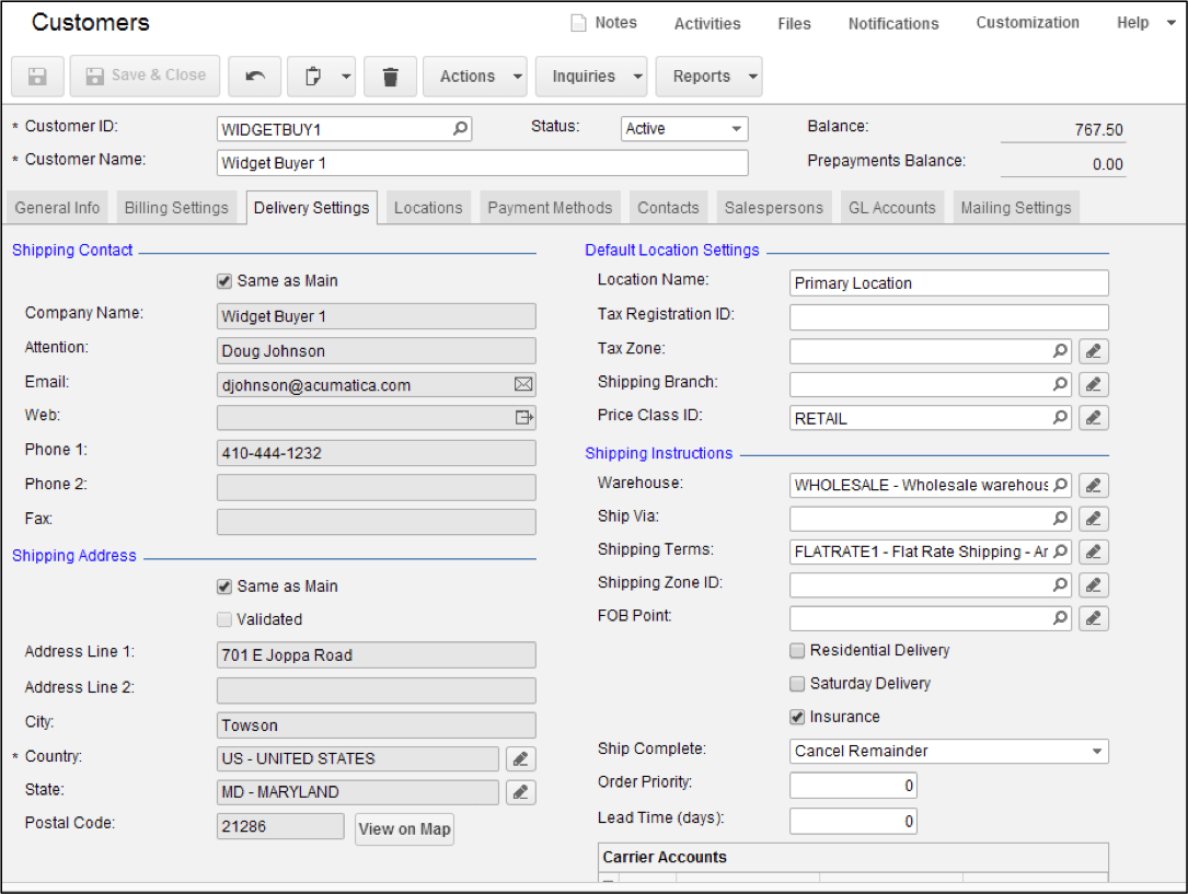 Setting Default Shipping Terms on the Customer Record