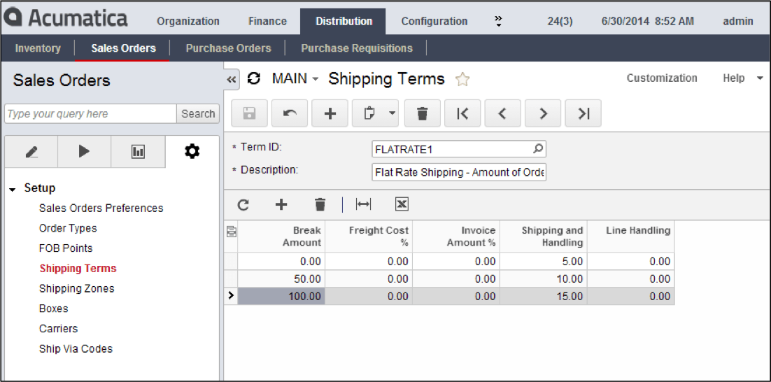 Setting up Flat Rate Shipping Terms