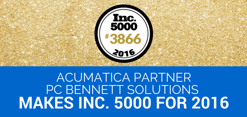 Acumatica Partner PC Bennett Solutions Makes Inc. 5000 for 20165