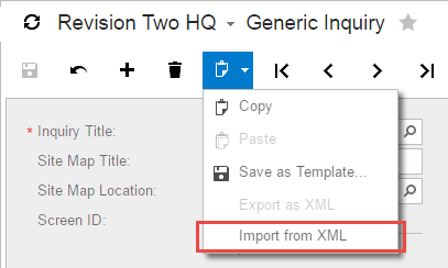 Generic Inquiry Import from XML