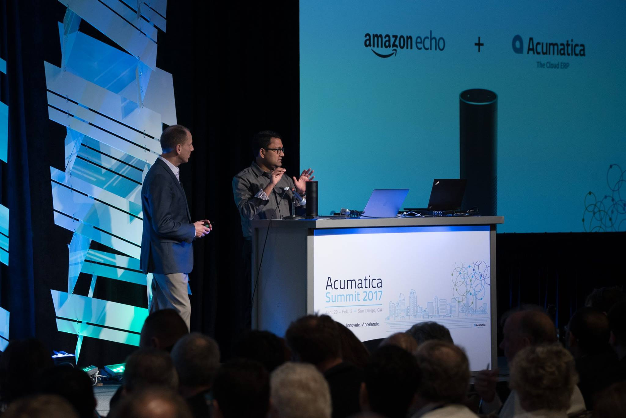 Acumatica CEO Jon Roskill and Ajoy Krishnamoorthy, Head of the Cloud Platform Division at Acumatica, demonstrate the Acumatica and Amazon Echo integration.