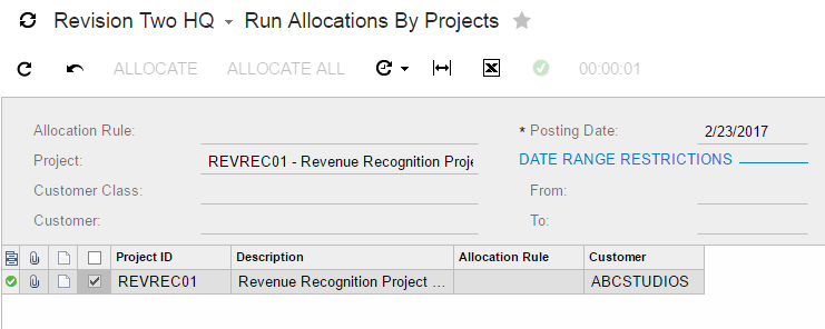 Select your project and press the allocate button