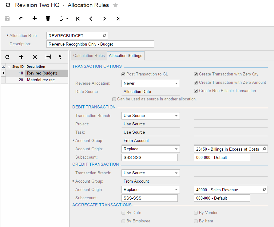 Complete the Allocation Settings tab
