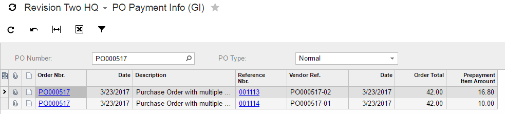 Generic Inquiry With The Purchase Order Number  Generic Purchase Order