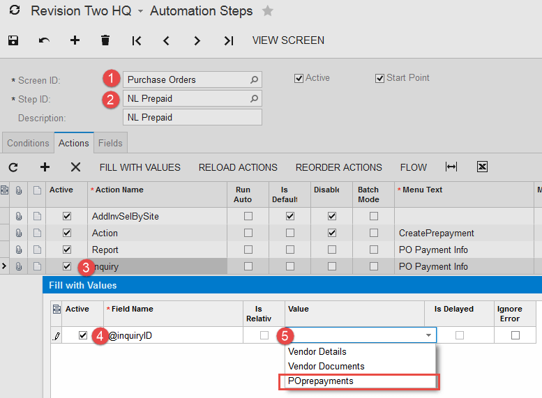 Use Automation Steps to add Inquiry to the Screen