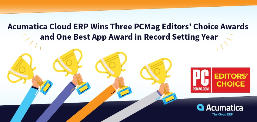 Acumatica Cloud ERP WinsThree PCMag Editors' Choice Awards and One Best App Award in Record Setting Year