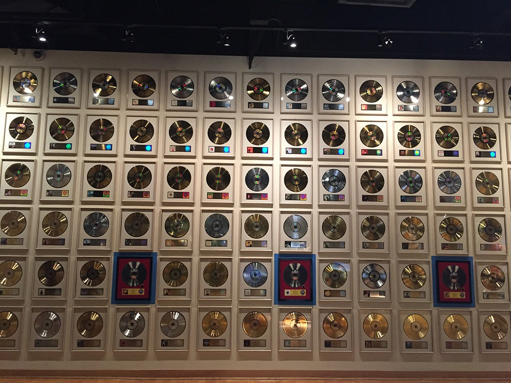 The wall of records at the Country Music Hall of Fame