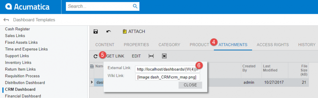 Create Link in CRM Dashboard Attachments
