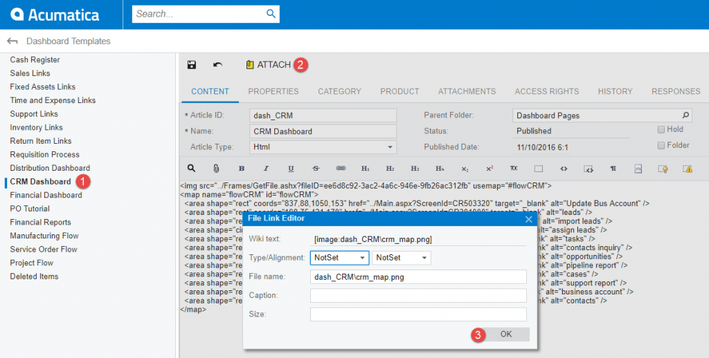 Upload Wiki File Into CRM Dashboard
