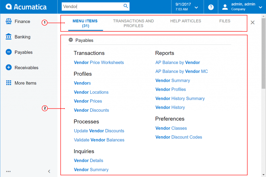 Acumatica Search results screen