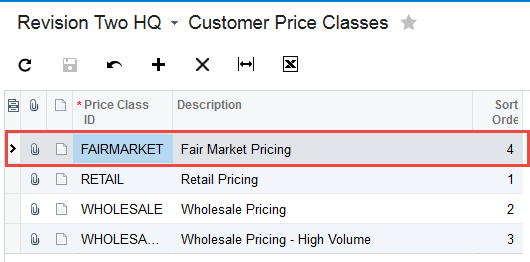 Sales Prices Screen