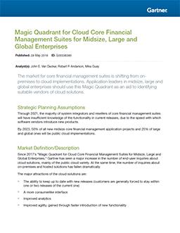 Gartner's Magic Quadrant for Cloud Core Financial Management Suites for Midsize, Large and Global Enterprises 2018