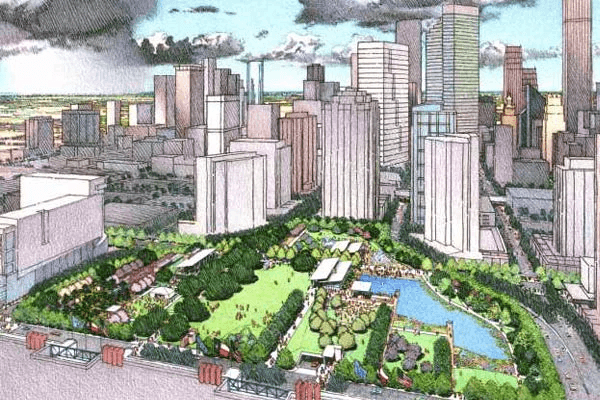 A rendering of Discovery Green