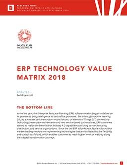 ERP Technology Value Matrix 2018