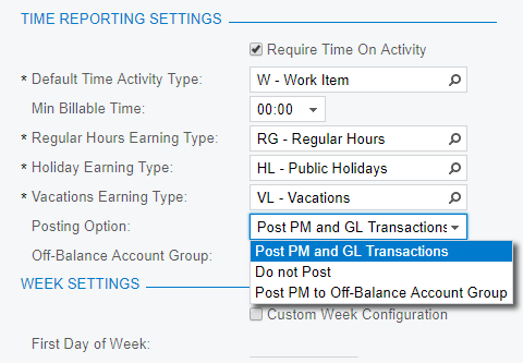Acumatica cloud ERP provides different timecard posting options