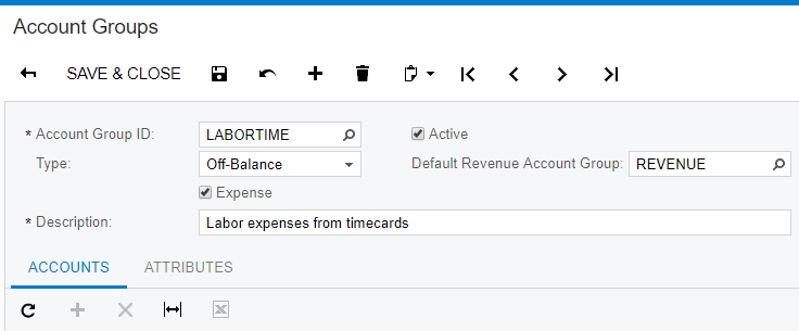 Create an account group with type Off-Balance