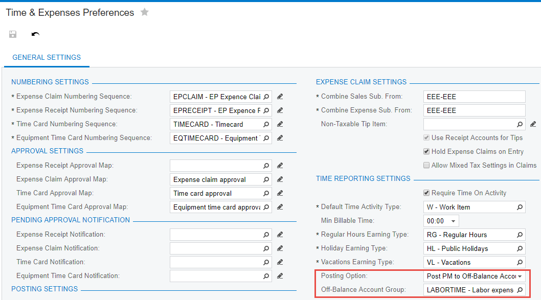 use the Time Reporting Settings to set the Posting Option