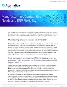 Manufacturing's Competitive Needs and ERP Flexibility