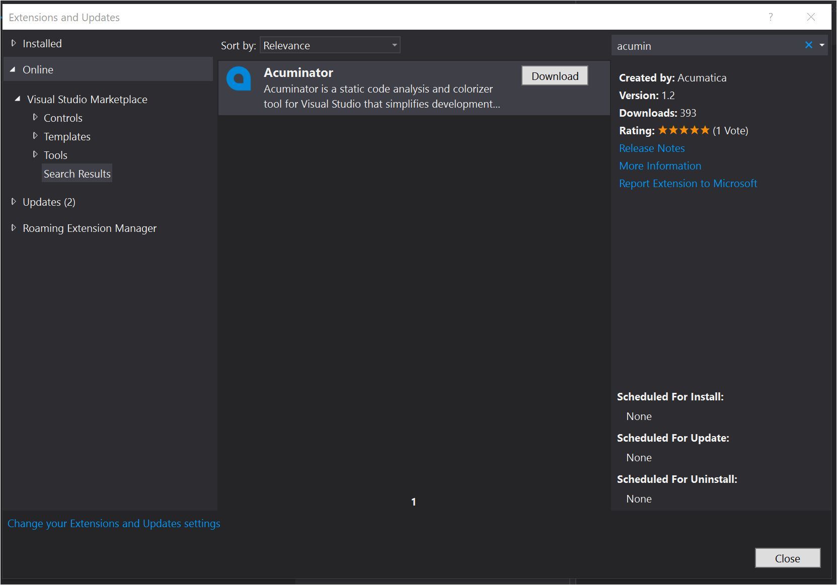 Acuminator – a Visual Studio Extension Tool for Acumatica Developers